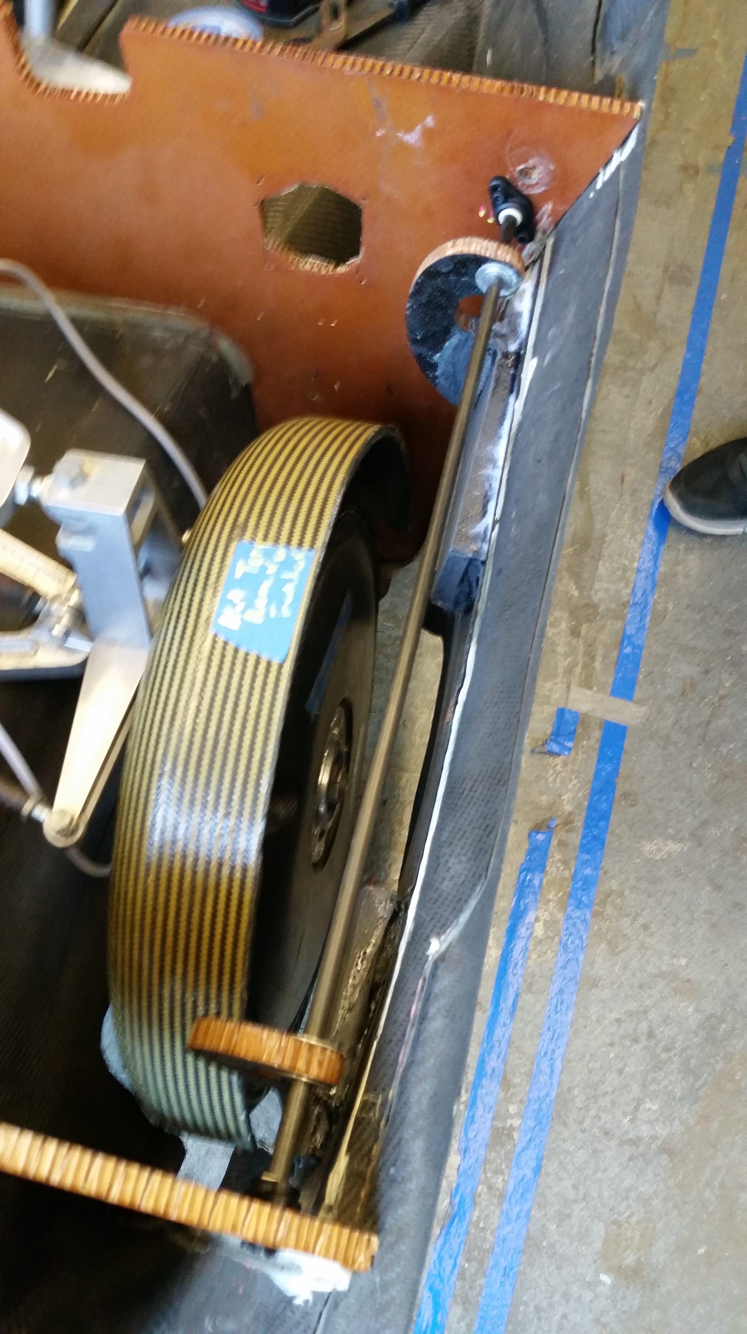 Top-down view of the fairing door wheel-well